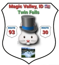 Conglomerate of Counties of Idaho, USA— main city: Twin Falls.  Fancy arms generated in two keyboard strokes using two standard UTF emojis (rendition: Android) for this place at the crossroad of Route 30 & Route 93.